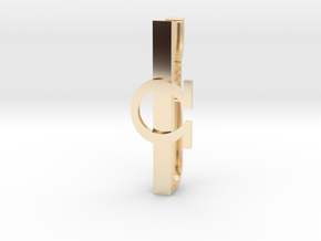 OHM (Omega) Tie clip in 14k Gold Plated Brass