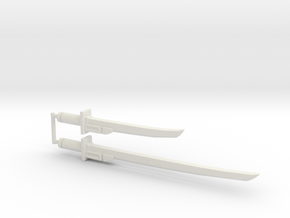 Bludgeon Swords (Katana and Wakizashi) 5mm Grip in White Strong & Flexible