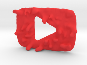 Distorted YouTube Play Button Award in Red Processed Versatile Plastic