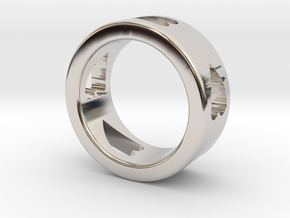 LOVE RING size-6 in Rhodium Plated Brass