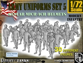 1-72 Army Modern Uniforms Set5 in Smooth Fine Detail Plastic