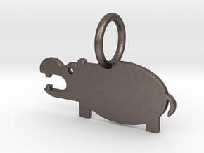 Hippopotamus Keychain in Polished Bronzed Silver Steel