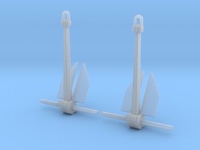 1/96 Anchor Danforth 2500kg (5000lb) in Smooth Fine Detail Plastic