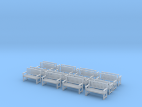 Bench type B - H0 ( 1:87 scale )16 Pcs set  in Smooth Fine Detail Plastic