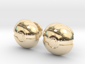 Pokeball Cufflinks in 14k Gold Plated Brass