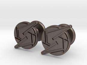 Samus Cufflinks in Polished Bronzed Silver Steel