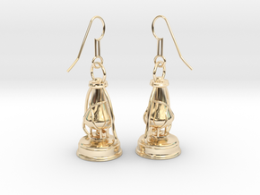 kerosene lamp - earrings in 14k Gold Plated Brass