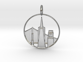 San Francisco Pendant With Loop in Natural Silver