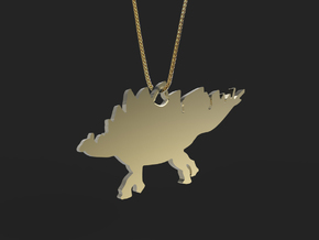 Stegosaurus necklace Pendant 2 in 14k Gold Plated Brass