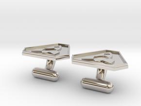 Cufflink in Rhodium Plated Brass