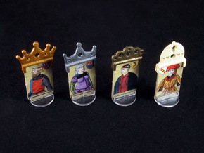 Fief - King etc. markers (4 pcs) in White Strong & Flexible Polished
