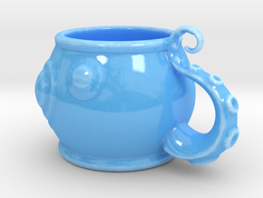 Octopus Cup in Gloss Blue Porcelain