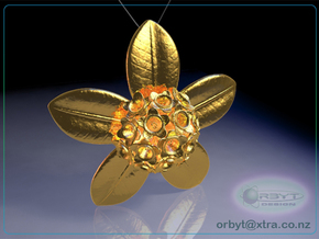 Rata Pod pendant ~ 47mm in Polished Gold Steel
