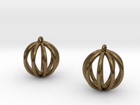 Small globe earrings in Polished Bronze