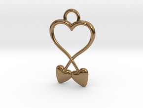 Two Hearts And One Heart in Natural Brass