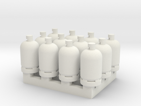 12 Gas Bottles in White Natural Versatile Plastic