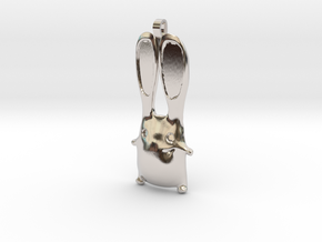 Bunny Pendant in Rhodium Plated Brass