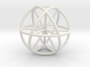 Vector Equilibrium Sphere 20mm- with 6 axis in White Natural Versatile Plastic