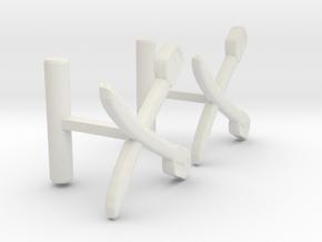Saber Cufflinks in White Natural Versatile Plastic