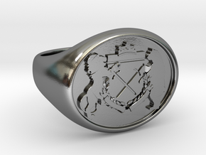 Crest Signet Ring in Polished Silver