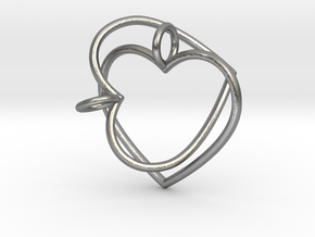 Two Hearts Interlocking in Natural Silver (Interlocking Parts)