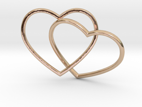 Two Hearts Interlocking Pendant in 14k Rose Gold Plated Brass