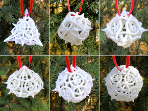 Thorn Dice Ornament Set in White Natural Versatile Plastic