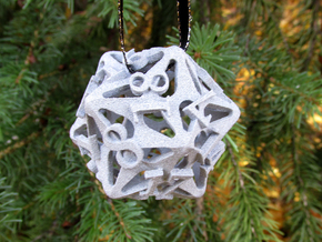 Pinwheel d20 Ornament in White Natural Versatile Plastic