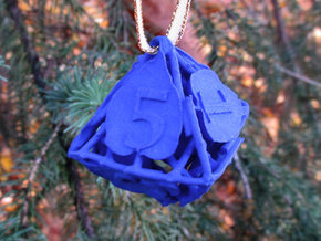 Botanical d8 Ornament in Blue Processed Versatile Plastic