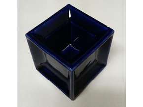 Hypercube Cup in Gloss Cobalt Blue Porcelain