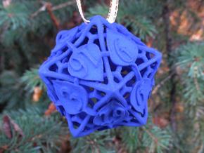Botanical d20 Ornament in Blue Processed Versatile Plastic