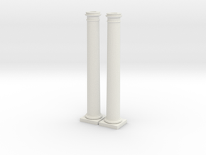Doric Columns 5500mm high at 1:76 scale X 2 in White Natural Versatile Plastic