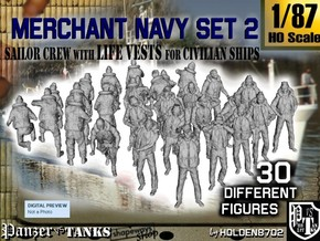 1/87 Merchant Navy Crew Set 2 in Smooth Fine Detail Plastic