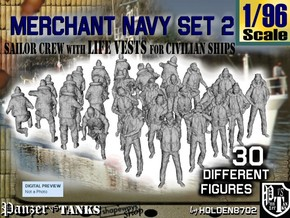 1/96 Merchant Navy Crew Set 2 in Smooth Fine Detail Plastic