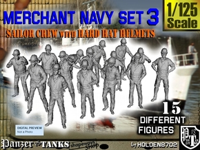 1-125 Merchant Navy Set 3 in Smooth Fine Detail Plastic