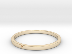 Crossring9_2 in 14k Gold Plated Brass