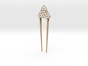 Dual Hairpin - Celtic Knot in Polished Brass