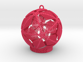 Pixel World Ornament for lighting days in Pink Processed Versatile Plastic