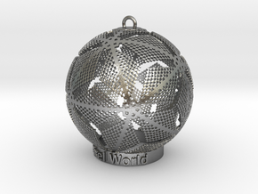 Pixel World Ornament for lighting days in Natural Silver