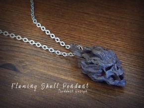 Flaming Skull Pendant in Matte Black Steel