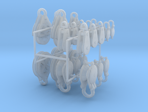 Small set of rigging blocks and pulleys in Smooth Fine Detail Plastic