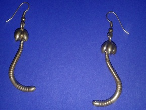 """Life of a worm"" Part 4 - ""Baby worm"" earrings in Natural Brass"