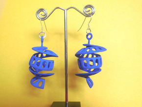 Curl - A pair of spiral design earrings in Blue Processed Versatile Plastic