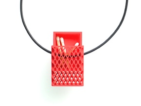 Matchbox Pendant in color in Red Processed Versatile Plastic