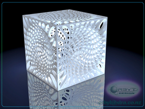 Voronoi cube lampshade ~ 100mm tall in White Strong & Flexible Polished