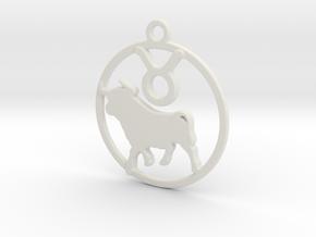 Taurus Zodiac Pendant in White Natural Versatile Plastic