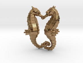 'Hippocampus Love' (Seahorse) LOVE Pendant, Charm in Natural Brass