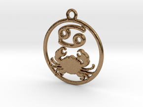 Cancer Zodiac Pendant in Natural Brass