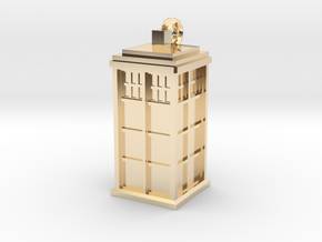 Tardis (T.A.R.D.I.S.) necklace charm in 14K Yellow Gold