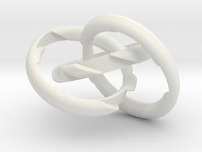 Three Phase Puzzle Ring in White Natural Versatile Plastic: 6 / 51.5